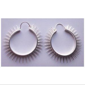Round Hoop Earrings Spiked Sunburst Silver Tone